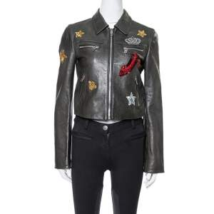 Dolce & Gabbana Black Sequin Embellished Cropped Leather Jacket S