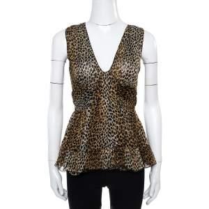 Dolce & Gabbana Brown Animal Print Ruffle Detail Sleeveless Top M