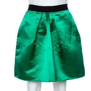 Dolce & Gabbana Green Satin Blend Pleated Mini Skirt S