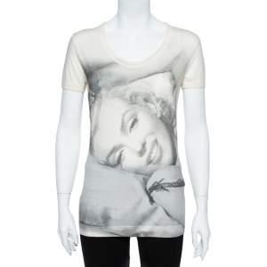 Dolce & Gabbana Cream Marilyn Monroe Print Cotton Jersey T-Shirt M