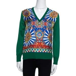 Dolce & Gabbana Green and Multicolor Silk Carretto Siciliano Print Jumper S
