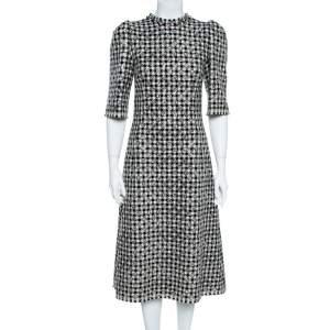 Dolce & Gabbana Black/White Houndstooth Tweed Blend Glitter Detail Midi Dress M