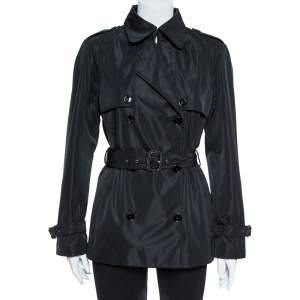 Dolce & Gabbana Black Polyester Double Breasted Coat S