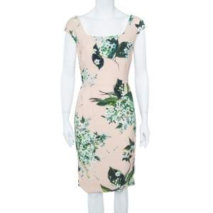 Dolce & Gabbana Pale Pink Hortensia Print Sleeveless Sheath Dress S