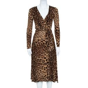 Dolce & Gabbana Brown Leopard Print Wrap Effect Midi Dress XS