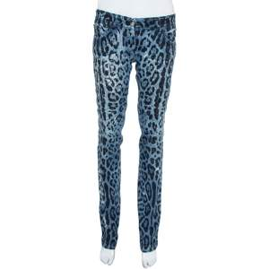 Dolce & Gabbana Blue Animal Print Dark Wash Straight Leg Jeans S