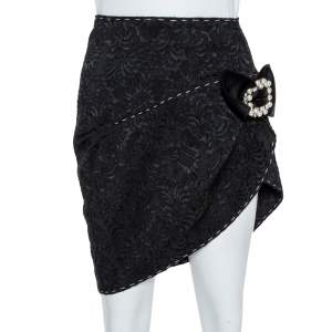 Dolce & Gabbana Black Brocade Crystal Bow Asymmetric Mini Skirt S