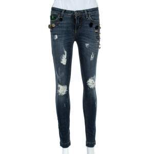 Dolce & Gabbana Blue Distressed Denim Button Embellished Pretty Fit Jeans S