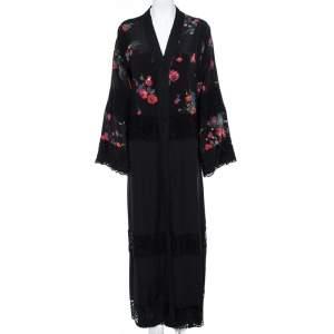 Dolce & Gabbana Black Floral Print Silk Lace Trim Abaya S