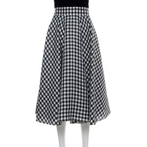 Dolce & Gabbana Monochrome Silk Gingham Check Flared Skirt M