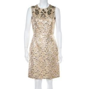 Dolce & Gabbana Gold Floral Jacquard Crystal Embellished Sheath Dress M