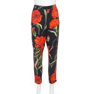 Dolce & Gabbana Black & Red Floral Printed Tapered Trousers M