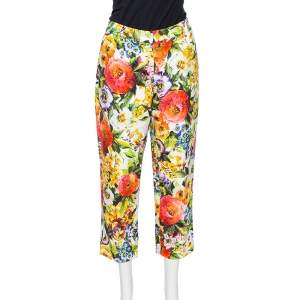 Dolce & Gabbana Multicolor Floral Embossed jacquard Cropped Pants M