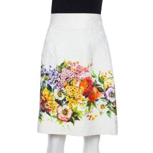 Dolce & Gabbana Multicolor Floral Embossed Jacquard Short Skirt M