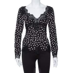 Dolce & Gabbana Monochrome Polka Dot Silk & Lace Detail Plunge Neck Top S