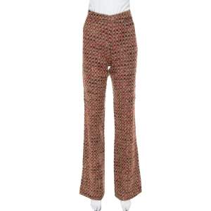 Dolce & Gabbana Brown Tweed High Rise Flared Trousers S