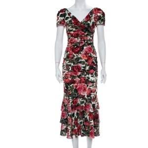 فستان ميدي دولتشي أند غابانا مكشكشة كريب حرير مطبوعة زهور متعددة الألوان صغير