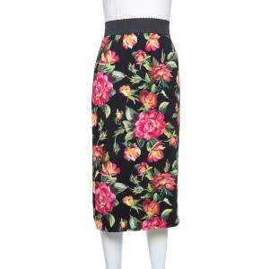 Dolce & Gabbana Black Crepe Floral Printed Pencil Skirt L