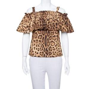 Dolce & Gabbana Brown Leopard Print Cotton Off Shoulder Blouse XS