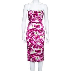فستان ميدي دولتشي أند غابانا حرير بنفسجي مورد مطبوع بكشكشة مقاس متوسط - ميديوم