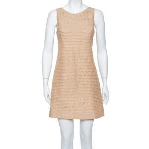Dolce & Gabbana Beige Textured Cotton Sleeveless Sheath Dress S