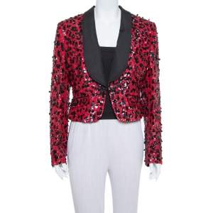 Dolce & Gabbana Red & Black Sequin Embellished Jacket M