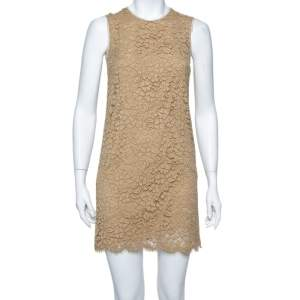 Dolce & Gabbana Beige Cotton Floral Lace Overlay Sleeveless Shift Dress S