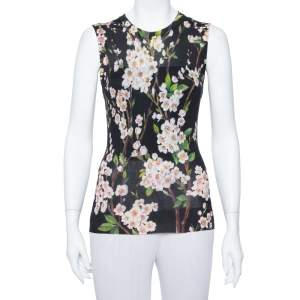 Dolce & Gabbana Black Floral Printed Silk Knit Sleeveless Top M