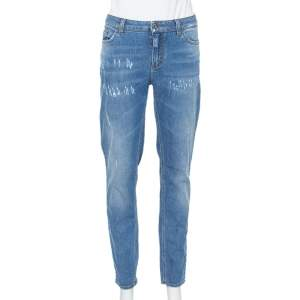 Dolce & Gabbana Blue Denim Faded Skinny Distressed Pretty Jeans L
