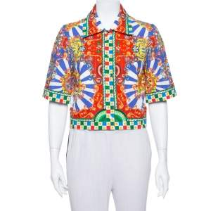 Dolce & Gabbana Multicolor Carretto Siciliano Print Cotton Cropped Shirt M