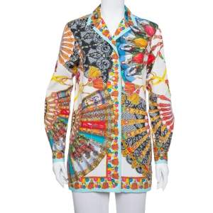 Dolce and Gabbana Multicolor Floral Fans Printed Cotton Poplin Shirt XS
