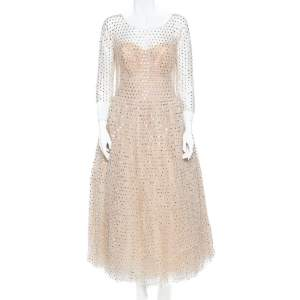 Dolce & Gabbana Cream Crystal Embellished Tulle Evening Gown L