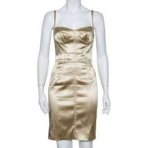 Dolce & Gabbana Beige Satin Bustier Dress S