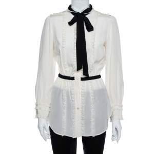 Dolce & Gabbana Cream Silk & Lace Contrast Neck Tie Detail Tunic S