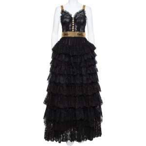 Dolce & Gabbana Black Floral Lace & Tulle Sequin Embellished Tiered Evening Gown S