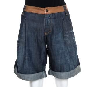 D&G Navy Blue Denim Leather Trim Detail Oversized Shorts M
