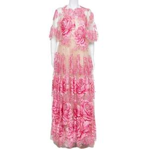 Dolce & Gabbana Beige & Pink Tulle Floral Applique Detail Gown L