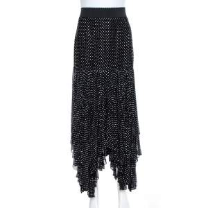 Dolce & Gabbana Black Crystal Embellished Silk Asymmetrical Hem Skirt S