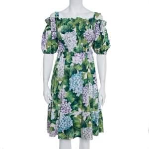 Dolce & Gabbana Hydrangea Print Cotton Poplin Elasticized Waist Cold Shoulder Dress S