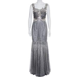 Dolce & Gabbana Silver Tulle Crystal Embellished Mermaid Evening Gown M