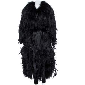 Dolce & Gabbana Black Fur Long Sleeve Maxi Coat M