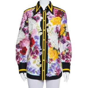Dolce & Gabbana Multicolor Floral Printed Cotton Contrast Trim Detail Shirt M