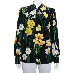 Dolce & Gabbana Black Floral Printed Silk Neck Tie Detail Top M