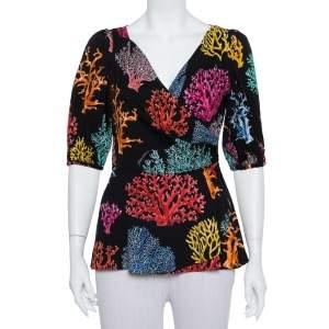 Dolce & Gabbana Black Printed Silk Balloon Sleeve Faux Wrap Top M