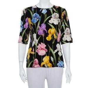 Dolce & Gabbana Black Floral Printed Silk Top L