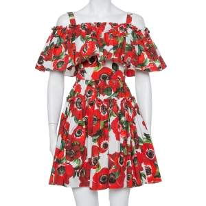 Dolce & Gabbana Red Floral Printed Cotton Ruffled Off Shoulder Mini Dress XS