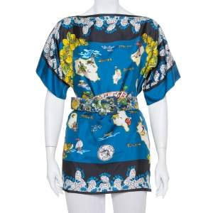 Dolce & Gabbana Multicolor Isole Eolie Printed Silk Oversized Top S