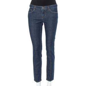 Dolce & Gabbana Navy Blue Denim Contrast Applique Detail Skinny Fit Jeans M