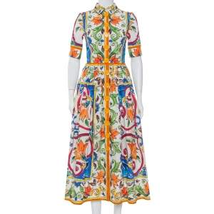 Dolce & Gabbana  White Majolica Printed Cotton Collared Midi Dress S