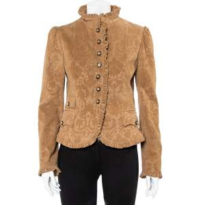 Dolce & Gabbana Brown Corduroy Ruffle Detail Button Front Jacket M